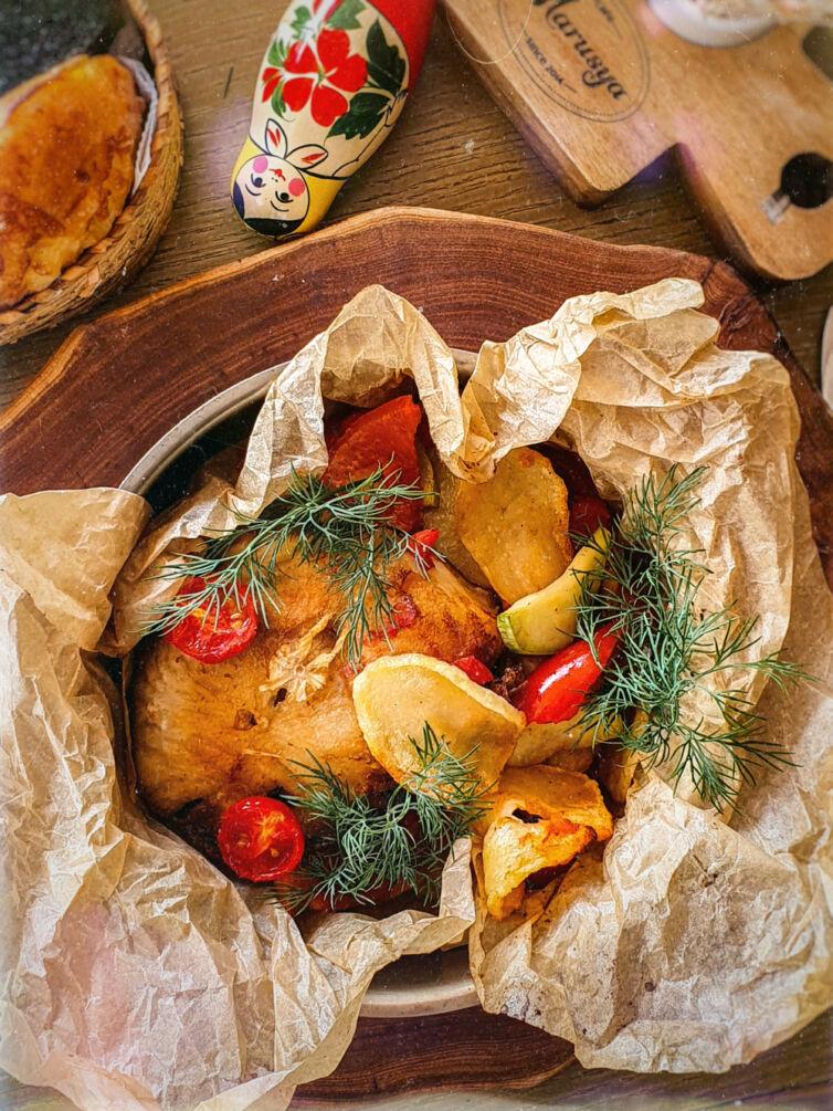 Стейк амура с овощами