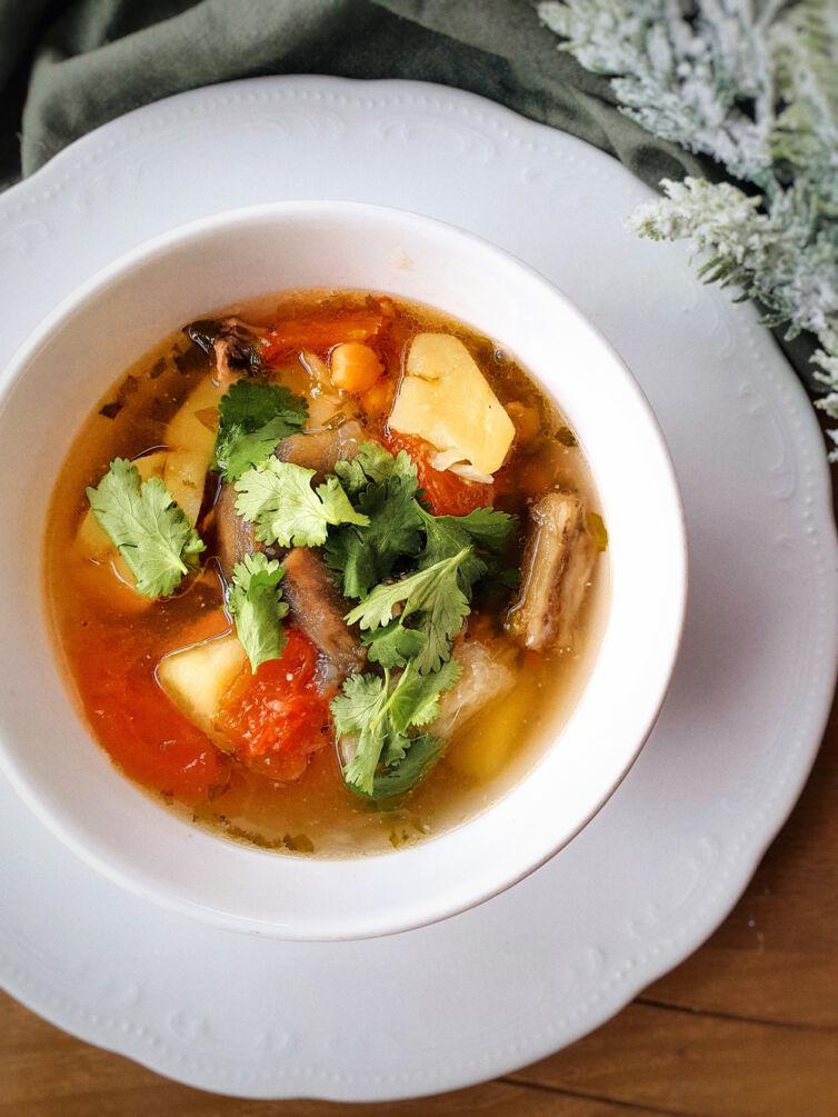 Хашлама из баранины, овощей и ароматной кинзы